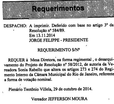 Votação Direta, desarquivamento Jefferson Moura 2014